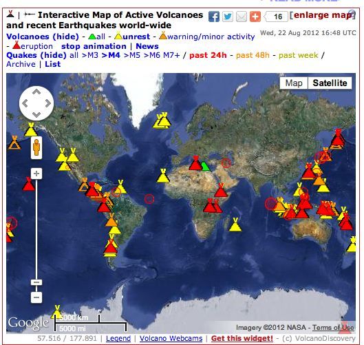Interactive Map of Active Volcanoes and recent Earthquakes world