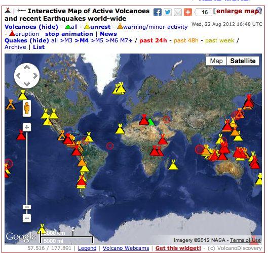 Active Volcanoes Map